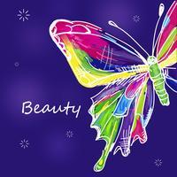 Disegnata farfalla colorata vettore