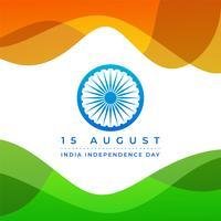 Felice giorno dell'indipendenza dell'India con sfondo astratto bandiera