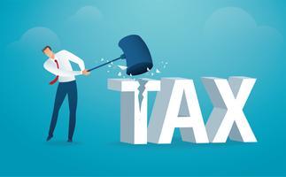 Uomo che distrugge la parola tassa con un martello. illustrazione vettoriale
