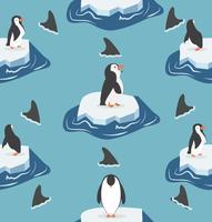 pinguini su un pezzo di iceberg con modello di squali pinna