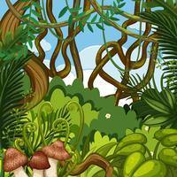 Un paesaggio di giungla verde vettore