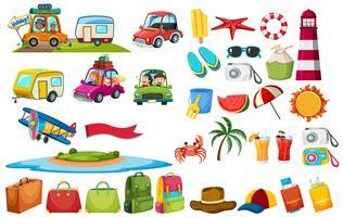 Set di elementi di viaggio vettore