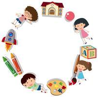 Modello di confine con i bambini e materiale scolastico