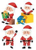 Un set di caratteri di Babbo Natale vettore