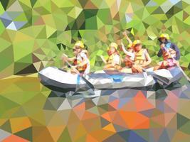 illustrazione vettoriale del rafting in un fiume