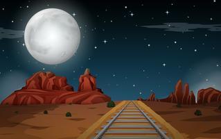 Scena del deserto di notte vettore