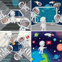 Astronauta all'interno della nave spaziale vettore