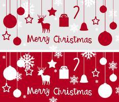 Modello di cartolina di Natale con molti ornamenti vettore