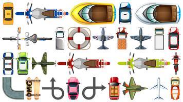 Set di mezzi di trasporto aereo vettore