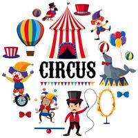 Elemento variopinto del circo su priorità bassa bianca vettore