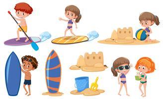 Set di bambini in vacanza estiva vettore