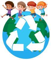 I bambini di tutto il mondo riciclano il concetto vettore