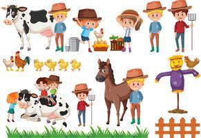Set di elementi del contadino vettore