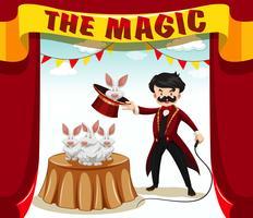 Spettacolo di magia con mago e conigli vettore