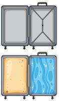 Set di bagagli vuoti e pieni