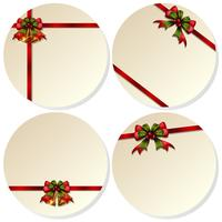 Quattro carte rotonde con campane di Natale
