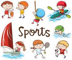 Sport diversi su sfondo bianco