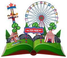 Libro pop-up del parco divertimenti vettore