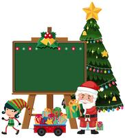Babbo Natale con modello di lavagna elfo vettore