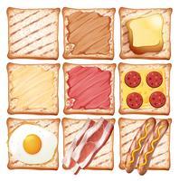 Un set di pane tostato per la colazione vettore