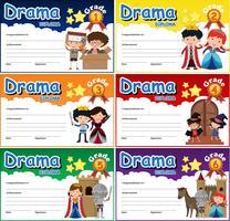 Set di modello di certificato di diploma di dramma