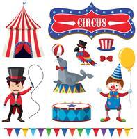 Una serie di elementi del circo