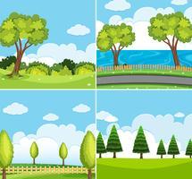Quattro scene di sfondo con alberi verdi vettore