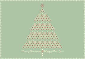 Retro vettore geometrico della cartolina d'auguri dell'albero di Natale