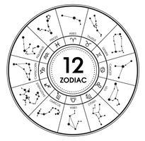 Le 12 costellazioni di segni zodiacali. Illustrazione vettoriale su sfondo bianco. Stampa
