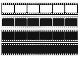 Collezione di strisce di pellicola. Vector isolato su sfondo bianco.