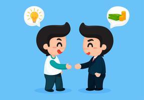 L'uomo creativo ha stretto la mano agli uomini d'affari con un sacco di soldi. Per vantaggi aziendali. vettore