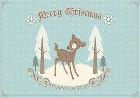 Retro vettore della cartolina di Natale dei cervi
