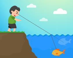 Rifrazione Quando la luce viaggia attraverso l'acqua Rendi il pesce più superficiale del vero. vettore