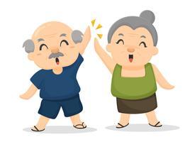 Gli anziani sono felici dopo aver ricevuto benefici per il benessere. Post-pensionamento. vettore