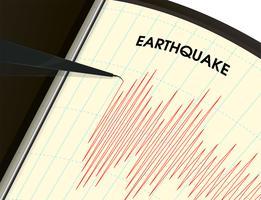 Strumento di monitoraggio dei terremoti La misurazione delle vibrazioni è rappresentata da un grafico a linee rosse. vettore