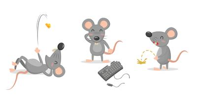Isolato sveglio dei segni di vettore del carattere del topo o del ratto su fondo bianco.