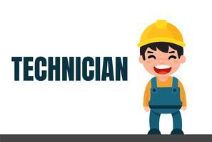 Simpatico tecnico di ingegnere dei cartoni animati e operaio edile edile vettore