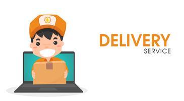 Personale di consegna online tramite computer. vettore