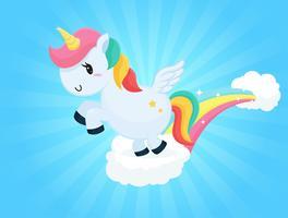 Cartoni animati carino unicorno che salta sulle nuvole Sfondo del cielo e luce solare bianca. vettore