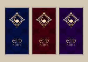 Elegante raccolta di banner per Eid Mubarak vettore