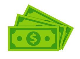 Isolato delle banconote del dollaro su fondo bianco.