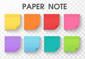 raccolta di adesivi di carta nota con lunga ombra vettore