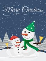 Modello di cartolina di Natale con pupazzo di neve