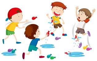 Bambini che giocano a mongolfiera