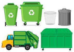 Set di bidone della spazzatura vettore