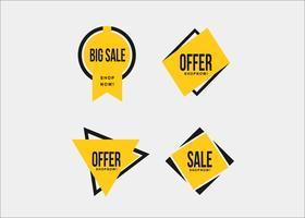 Nastri di promozione dello shopping giallo minimal colorato vettore
