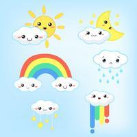 Previsioni meteo kawaii fumetto nuvole arcobaleno, sole e luna che sembrano carini e colorati. vettore