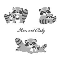 Set di piccolo procione e madre. Cartone animato di animali del bosco. vettore