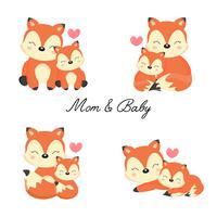 Set di piccola volpe e madre. Cartone animato di animali del bosco. vettore