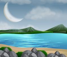 Scena del lago con montagne vettore